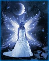 Angel Girl In Front Of Moon