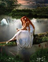 Beautiful Girl Standing Alone In Pool
