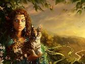 Beautiful Hot Witch With A Cat