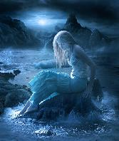Beutiful Blue Girl Sitting Alone In Moonlight