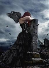 Beutiful Girl  With Wings Sad