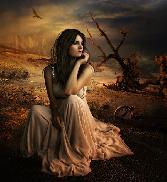 Beutiful Girl Sitting Alone