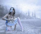 Beutiful Hot Girl In Snowfall