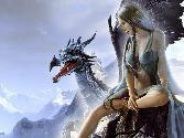 Beutiful Hot Girl Sitting On Dragon Lookin Scary