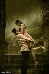 Boy Hugs Girl In Rain