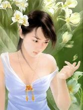 Chinese_girl In White Dress In With Light Wings