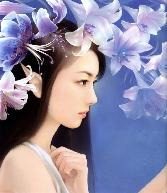 Chinese_girl With Light Blue Flowers