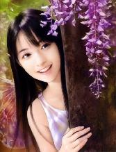 Chinese_girl With Purple Flowers