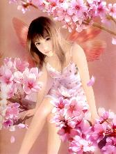 Chinese_girl With Red Transparent Wings In Pink Flowers