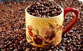 Coffee Beans Fully Filled Up Cup Yellow Cup