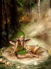 Cute Angel Girl Sitting On Leaf In Sea