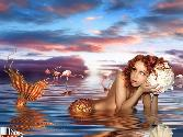 Hot Nude Mermaid In Water With A Pearlpot
