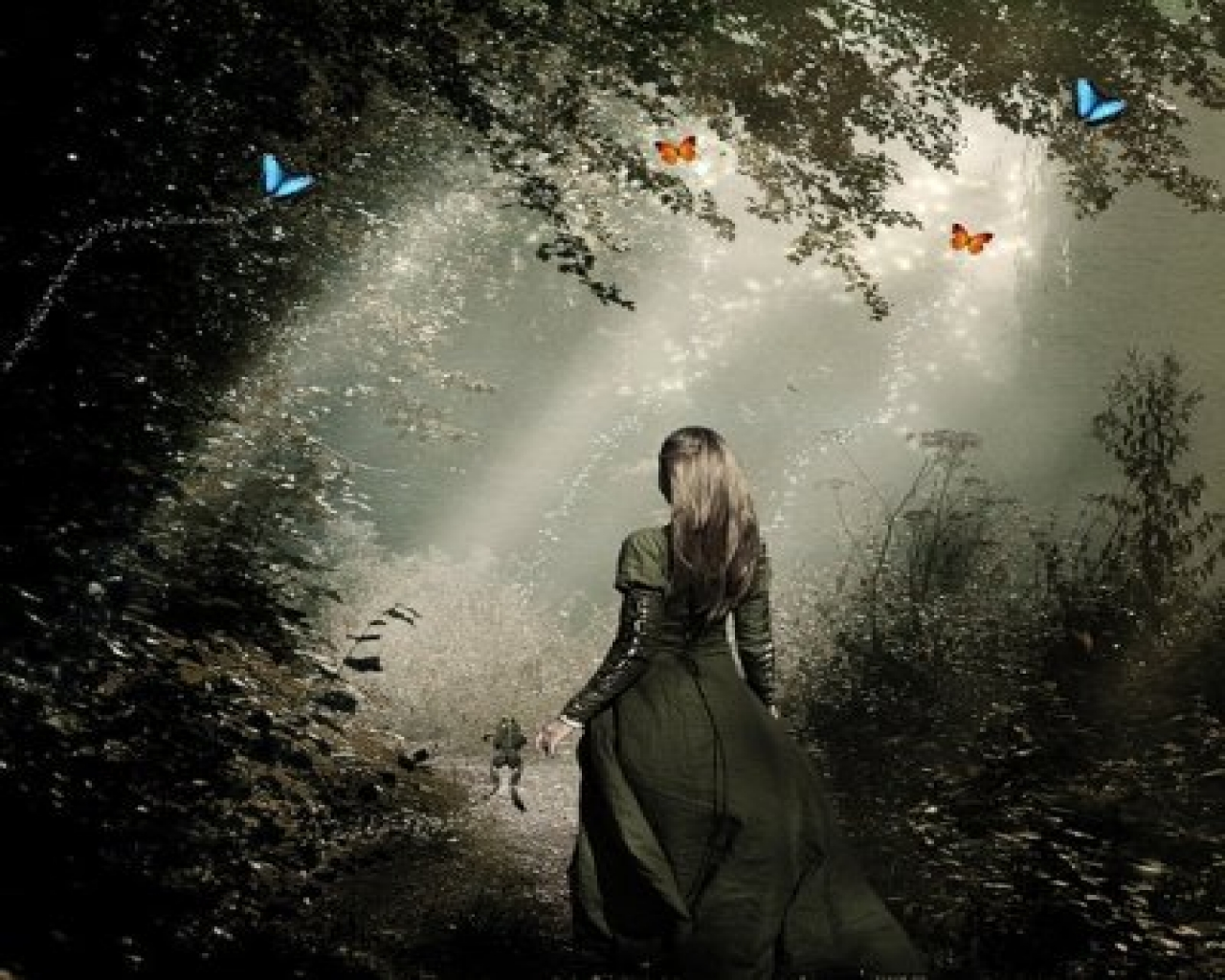 Most Inspiring Wallpaper Forest Girl - girl_in_black_gown_going_alone_in_forest_1280_1024  Image_557511 .jpg